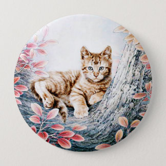 Chinese Cat Art Cat in Tree Pinback Button