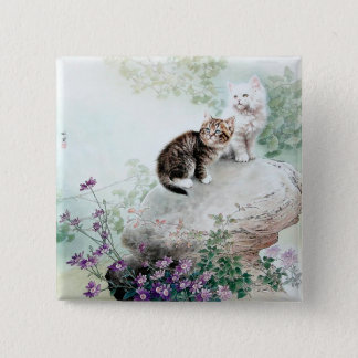 Chinese Cat Art Two Cats Button