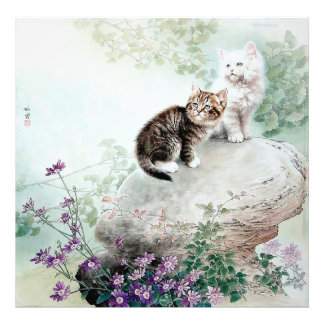 Chinese Cat Art Two Cats Art Photo