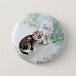 Chinese Cat Art Two Cats Pinback Button