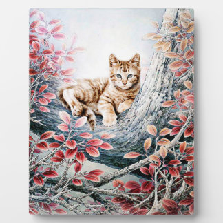 Chinese Cat Art Two Cats Plaque
