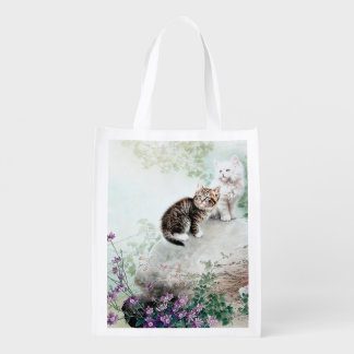 Chinese Cat Art Two Cats Reusable Grocery Bag