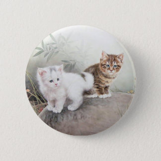 Chinese Cat Art Two Kittens Button