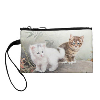 Chinese Cat Art Two Kittens Coin Purse