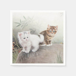 Chinese Cat Art Two Kittens Disposable Napkin
