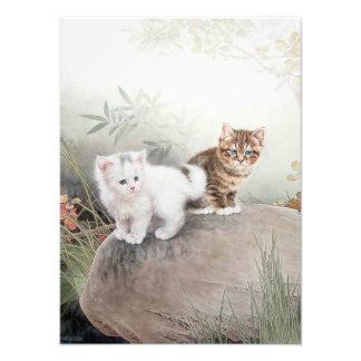 Chinese Cat Art Two Kittens Photo