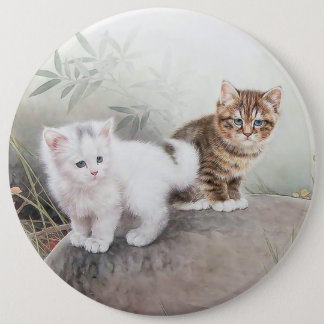 Chinese Cat Art Two Kittens Pinback Button