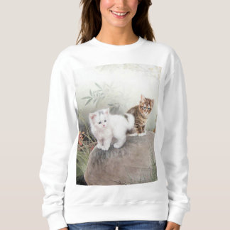 Chinese Cat Art Two Kittens Sweatshirt