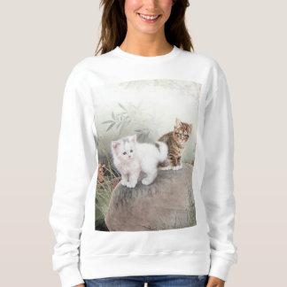 Chinese Cat Art Two Kittens Sweatshirt