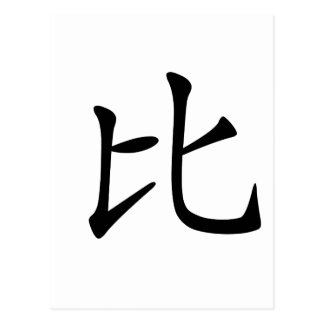 Chinese Character : bi3, Meaning: compare Postcard