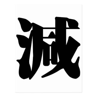 Chinese Character : jian, Meaning: decrease, subtr Postcard