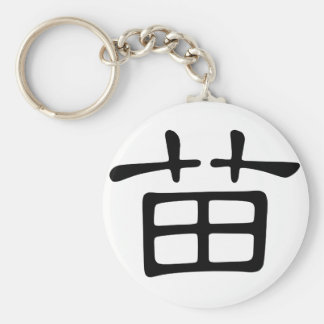 Chinese Character : miao, Meaning: sprouts, young Basic Round Button Keychain