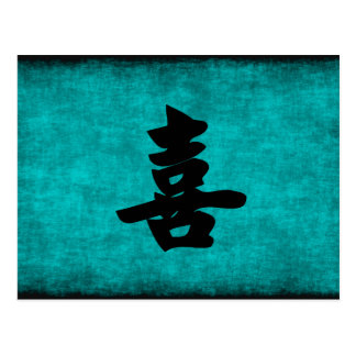 Chinese Character Painting for Happiness in Blue Postcard