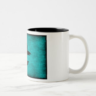 Chinese Character Painting for Warrior in Blue Two-Tone Coffee Mug