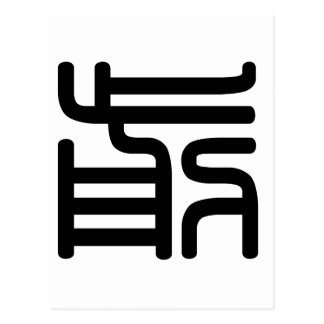 Chinese Character : qian, Meaning: front, advance Postcard
