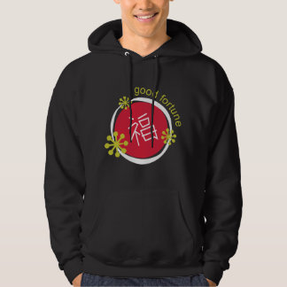 Chinese Character Symbol Good Fortune Black Pullover