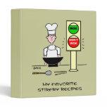 Chinese Chef Cartoon Stir Fry Wok Recipes Binder