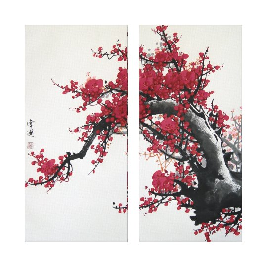 Chinese Cherry Blossom Painting (2 canvas) Canvas Print