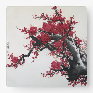 Chinese Cherry Blossom Square Wall Clock