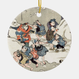 Chinese Children in the Snow Ceramic Ornament