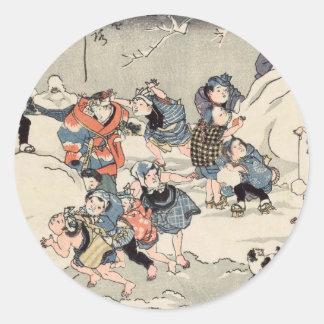 Chinese Children in the Snow Classic Round Sticker
