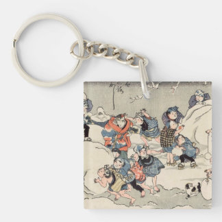 Chinese Children Making Snowballs Double-Sided Square Acrylic Keychain