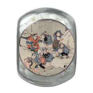 Chinese Children Making Snowballs Glass Jars