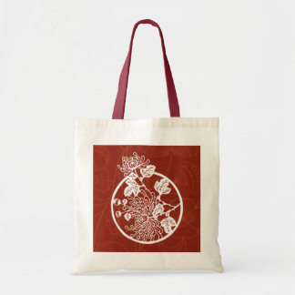 Chinese Chrysanthemums on Red Budget Tote Bag