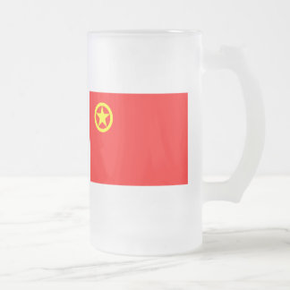 CHINESE COMMUNIST FLAG FROSTED GLASS BEER MUG