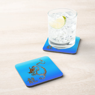 Chinese Copper Dragon on Blue Drink Coasters Beverage Coaster