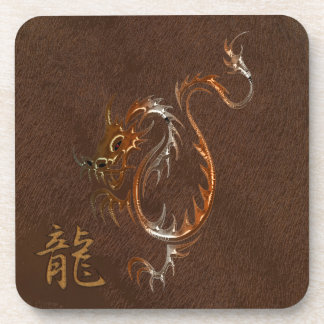 Chinese Copper Dragon on Faux Leather Drink Coaster