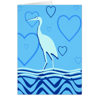 Chinese Crane Card - Watery Blues