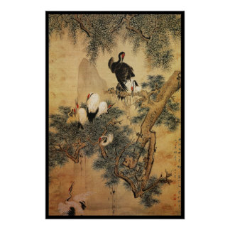 Chinese Cranes Poster
