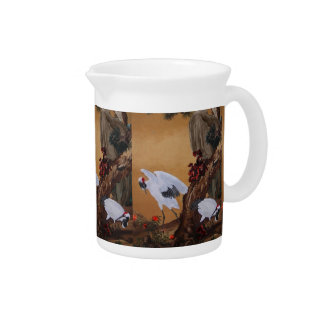 Chinese Cranes Under a Pine Tree Drink Pitcher