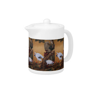 Chinese Cranes Under a Pine Tree Teapot