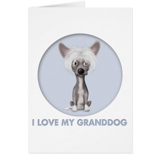 Chinese Crested 2 Granddog Greeting Card