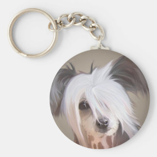 Chinese Crested Basic Round Button Keychain
