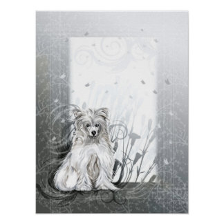 Chinese Crested Blue Poster