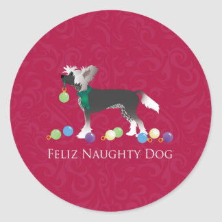 Chinese Crested Christmas Design Classic Round Sticker