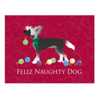 Chinese Crested Christmas Design Postcard
