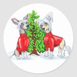 Chinese Crested Christmas Tree Classic Round Sticker