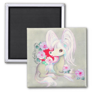 Chinese Crested Cute Puppy Dog 2 Inch Square Magnet