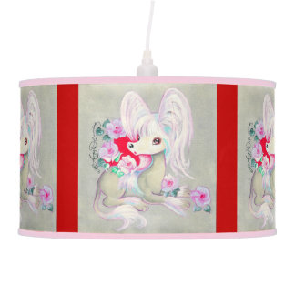 Chinese Crested Cute Puppy Dog Hanging Lamp