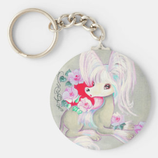 Chinese Crested Cute Puppy Dog Keychain