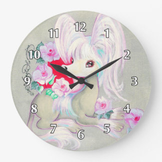 Chinese Crested Cute Puppy Dog Large Clock
