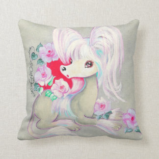 Chinese Crested Cute Puppy Dog Throw Pillow