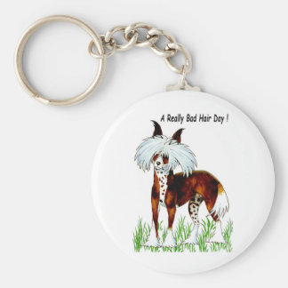 Chinese Crested Dog, Bad Hair Day Basic Round Button Keychain