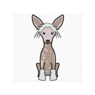 Chinese Crested Dog Cartoon Canvas Print