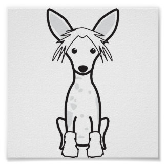 Chinese Crested Dog Cartoon Poster