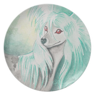 Chinese Crested Dog Dinner Plates